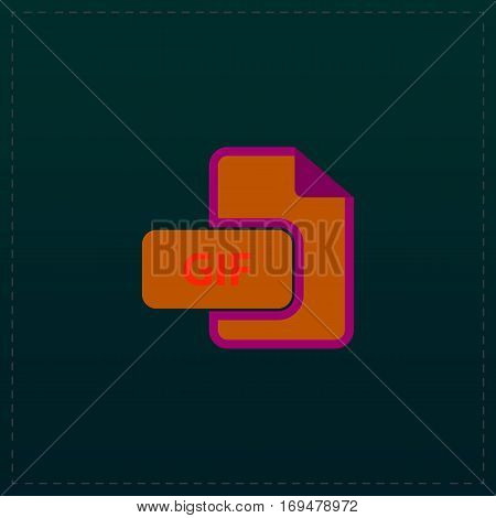 GIF image file extension. Color symbol icon on black background. Vector illustration