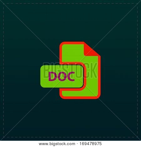 DOC vector file extension. Color symbol icon on black background. Vector illustration