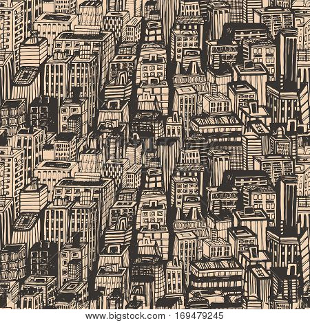 Vintage design newsprint hand drawn seamless pattern with big city. Vector illustration with NYC architecture, skyscrapers, megapolis, buildings, downtown.
