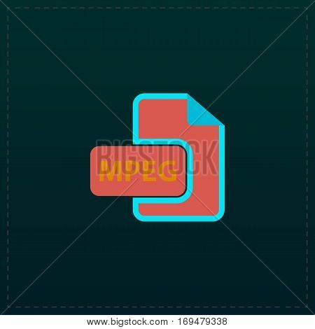 MPEG video file extension. Color symbol icon on black background. Vector illustration