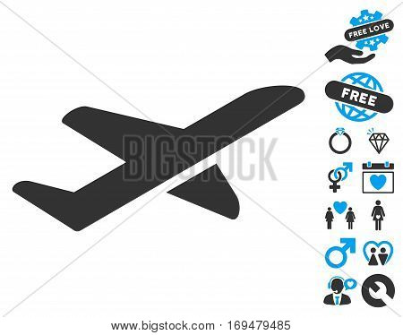 Airplane Takeoff icon with bonus valentine graphic icons. Vector illustration style is flat iconic blue and gray symbols on white background.