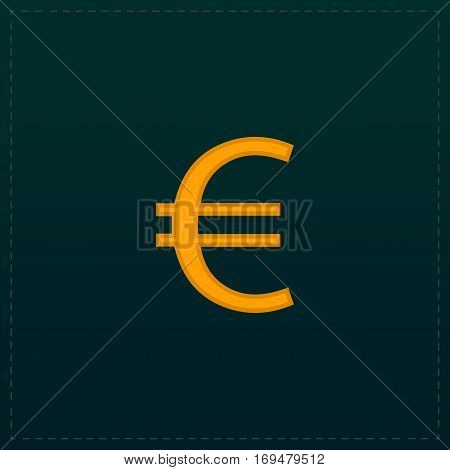 Euro. Color symbol icon on black background. Vector illustration