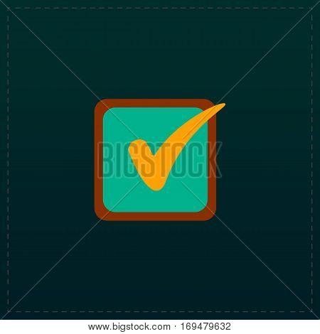Checklist button - check mark in box sign. Color symbol icon on black background. Vector illustration