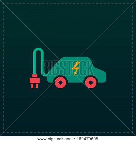 Electric car. Color symbol icon on black background. Vector illustration