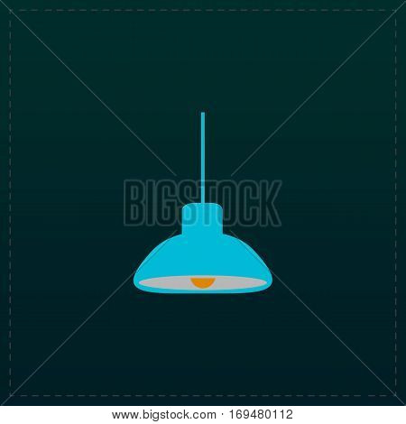 Ceiling lamp. Color symbol icon on black background. Vector illustration