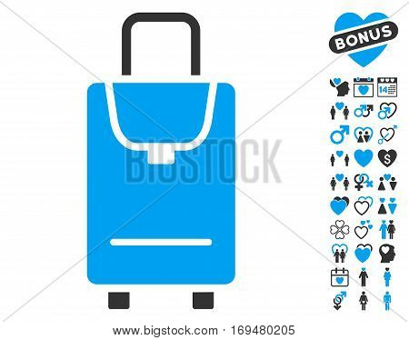 Carryon icon with bonus valentine pictograms. Vector illustration style is flat iconic blue and gray symbols on white background.