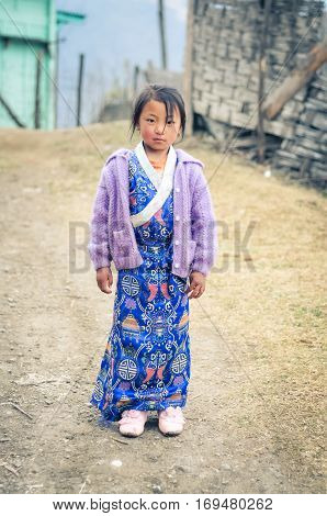 Girl In Blue Dress In Arunachal Pradesh