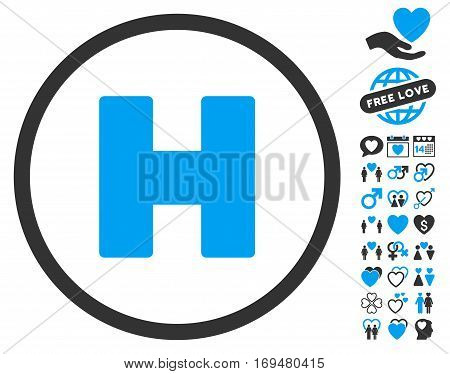 Helicopter Landing icon with bonus dating pictograph collection. Vector illustration style is flat iconic blue and gray symbols on white background.
