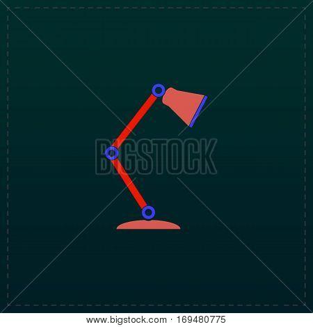 Reading-lamp. Color symbol icon on black background. Vector illustration