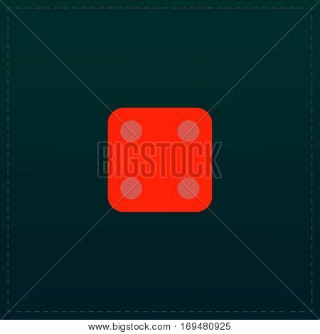 One die - side with 4. Color symbol icon on black background. Vector illustration