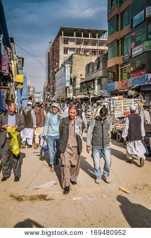 Walking People At Market In Afghanistan