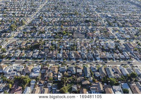 Aerial of dense neighborhoods in Los Angeles County California.
