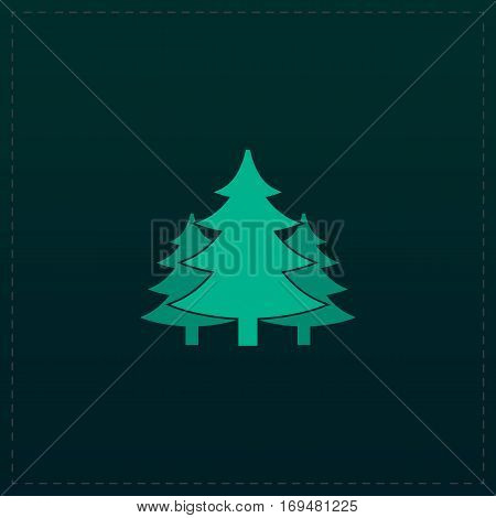 Tree, Christmas fir tree. Color symbol icon on black background. Vector illustration
