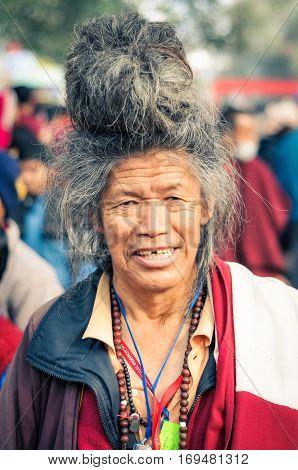 Man With Big Hairdo In Bihar