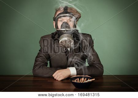 Teenage Boy Wearing A Gas Mask