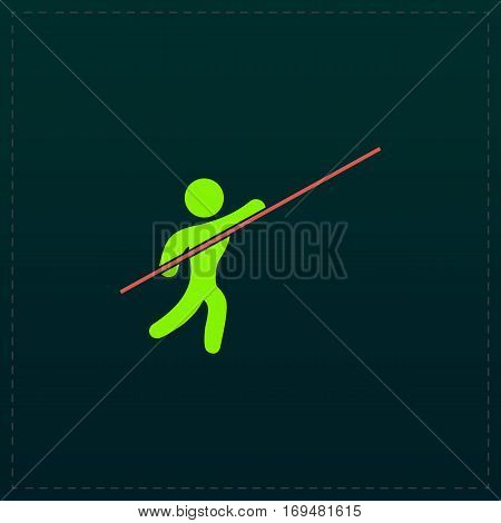 Pole vault athlete. Color symbol icon on black background. Vector illustration