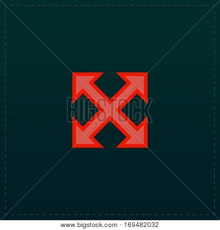 Four sides arrow. Color symbol icon on black background. Vector illustration