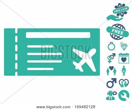 Airticket icon with bonus lovely images. Vector illustration style is flat iconic cobalt and cyan symbols on white background.