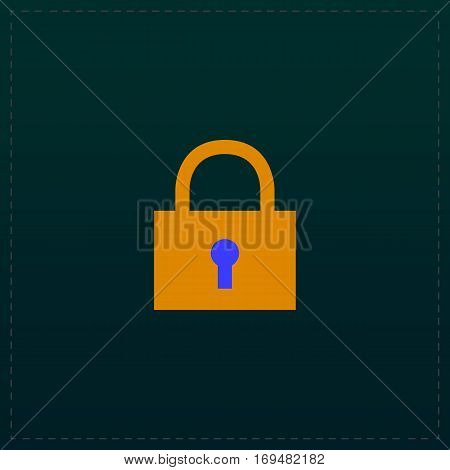 Simple lock pad. Color symbol icon on black background. Vector illustration
