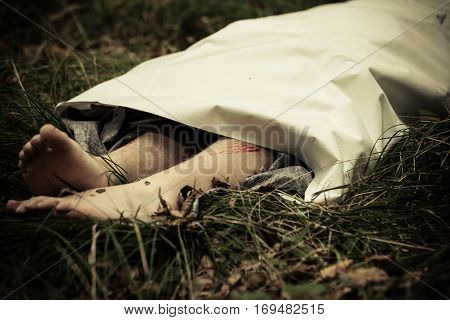 Murder Victim Lying Outdoors Under Sheet
