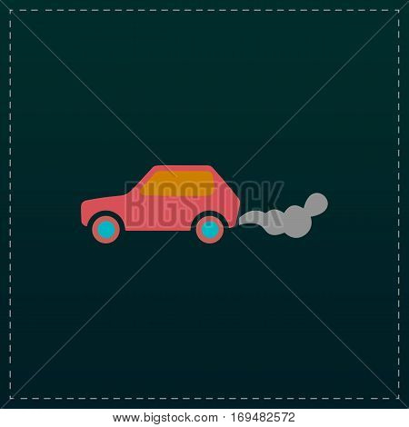 Car emits carbon dioxide. Color symbol icon on black background. Vector illustration