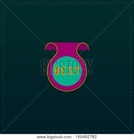 Bookmark with Best message. Color symbol icon on black background. Vector illustration