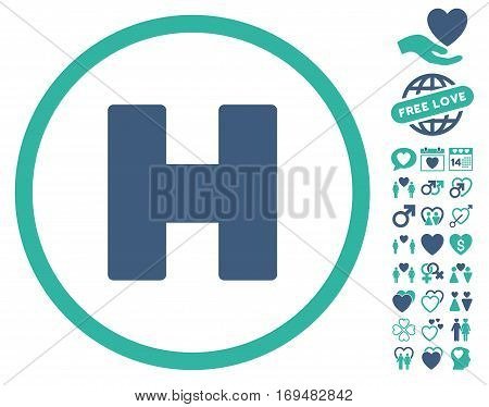 Helicopter Landing pictograph with bonus dating symbols. Vector illustration style is flat iconic cobalt and cyan symbols on white background.