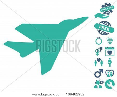 Intercepter pictograph with bonus valentine clip art. Vector illustration style is flat iconic cobalt and cyan symbols on white background.