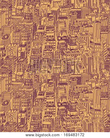 Hand drawn seamless pattern with skyscrapers. Hand drawn Vintage illustration with New York city NYC, cityscape with panoramic view of architecture, skyscrapers, megapolis, buildings, downtown.