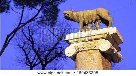 Statue of Romulus and Remus in Rome -- copyspace composition
