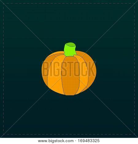Pumpkin. Color symbol icon on black background. Vector illustration