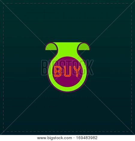Bookmark with Buy message. Color symbol icon on black background. Vector illustration