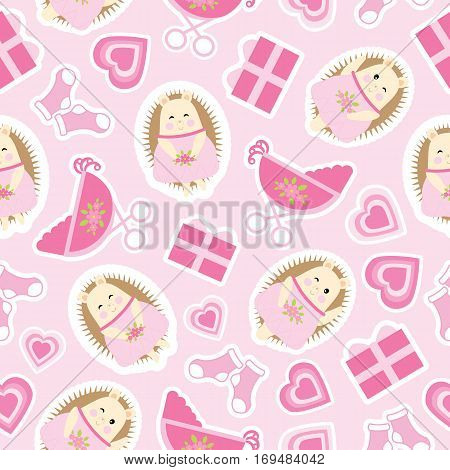 Baby shower seamless pattern with cute hedgehog, gifts, baby cart and socks on pink background suitable for baby shower wallpaper, scrap paper, and fabric