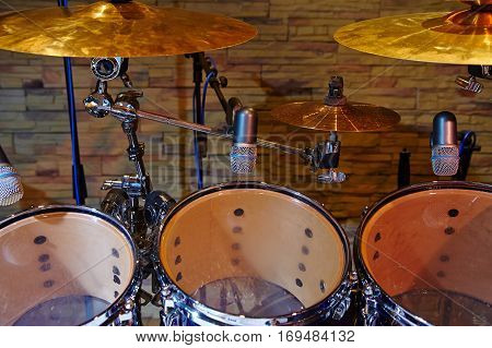 drums and microphone at music studio, part drum kit