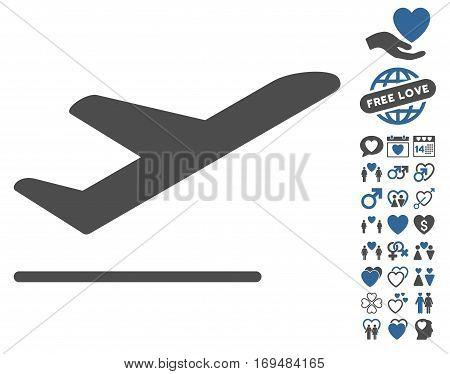 Airplane Departure pictograph with bonus lovely pictograph collection. Vector illustration style is flat iconic cobalt and gray symbols on white background.