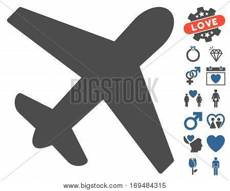 Airplane icon with bonus dating pictograph collection. Vector illustration style is flat iconic cobalt and gray symbols on white background.