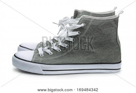Pair of canvas sport shoes isolated on white