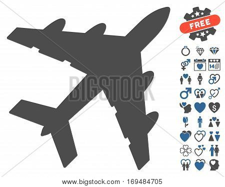 Bomber pictograph with bonus lovely clip art. Vector illustration style is flat iconic cobalt and gray symbols on white background.
