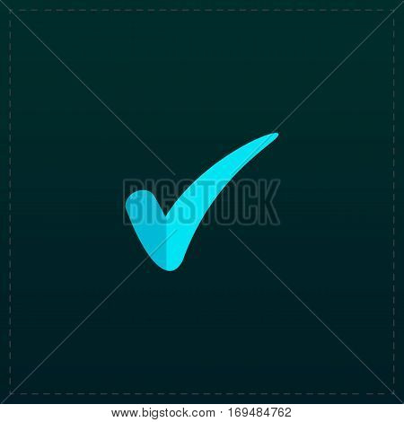 Confirm. Color symbol icon on black background. Vector illustration