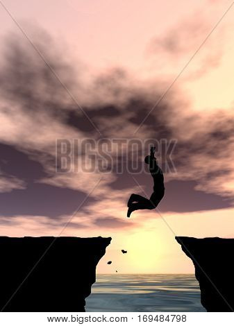 Concept conceptual 3D illustration young man businessman silhouette jump happy from cliff over water gap sunset or sunrise sky background for freedom, nature, mountain, success, free, joy, health risk