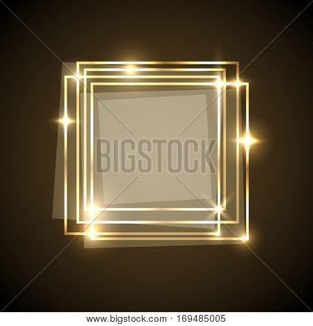 Abstract background with gold squares banner, stock vector