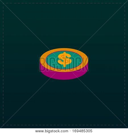 Casino chip. Color symbol icon on black background. Vector illustration