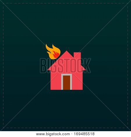 House on fire. Color symbol icon on black background. Vector illustration
