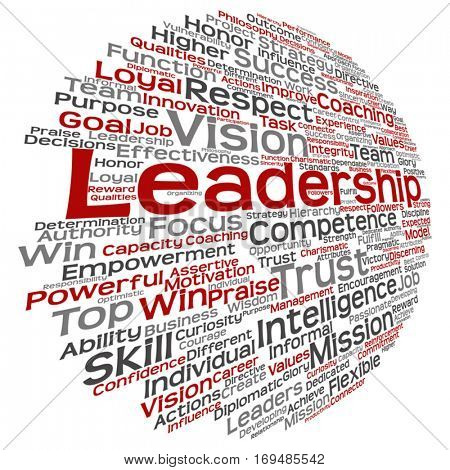 Vector concept or conceptual business leadership, management value word cloud isolated on background metaphor to strategy, success, achievement, responsibility, authority, intelligence or competence