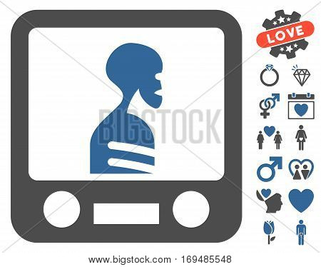 Xray Screening icon with bonus lovely pictures. Vector illustration style is flat iconic cobalt and gray symbols on white background.
