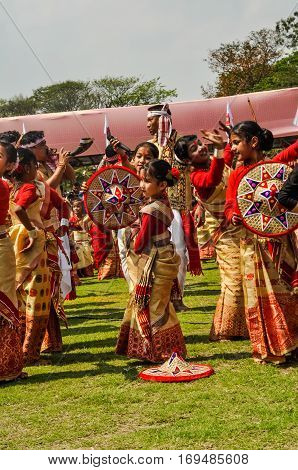 Performing Girls In Assam