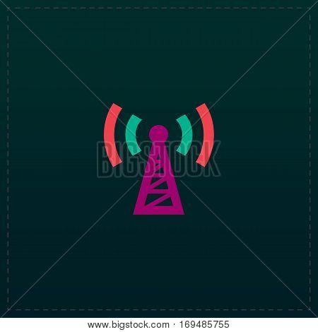 Transmitter. Color symbol icon on black background. Vector illustration