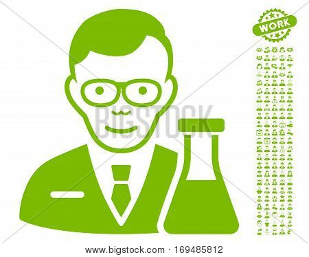 Chemist pictograph with bonus occupation pictograms. Vector illustration style is flat iconic eco green symbols on white background.