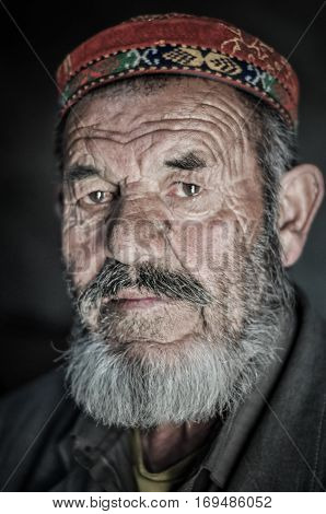 Man With Grey Beard In Tajikistan