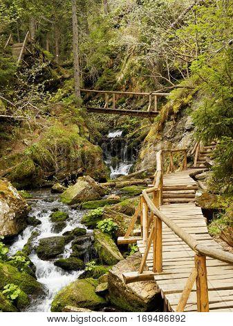 Wooden footbridge on steam Bila Opava in Jasenki, Czech Republic